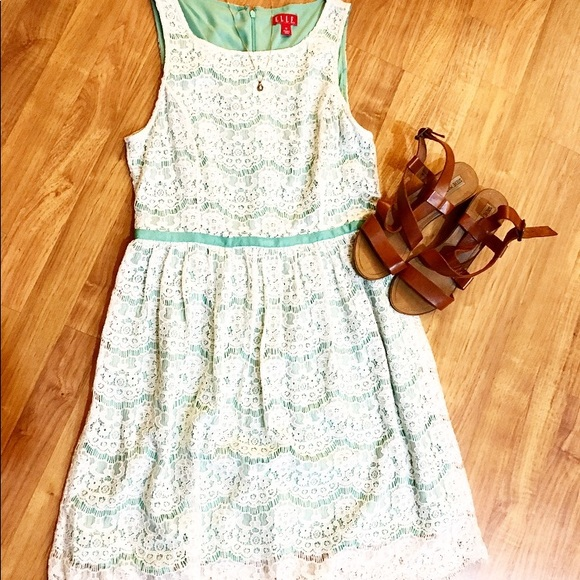 Elle Dresses & Skirts - ELLE: Summer Dress-Aqua/White Lace-Size 10